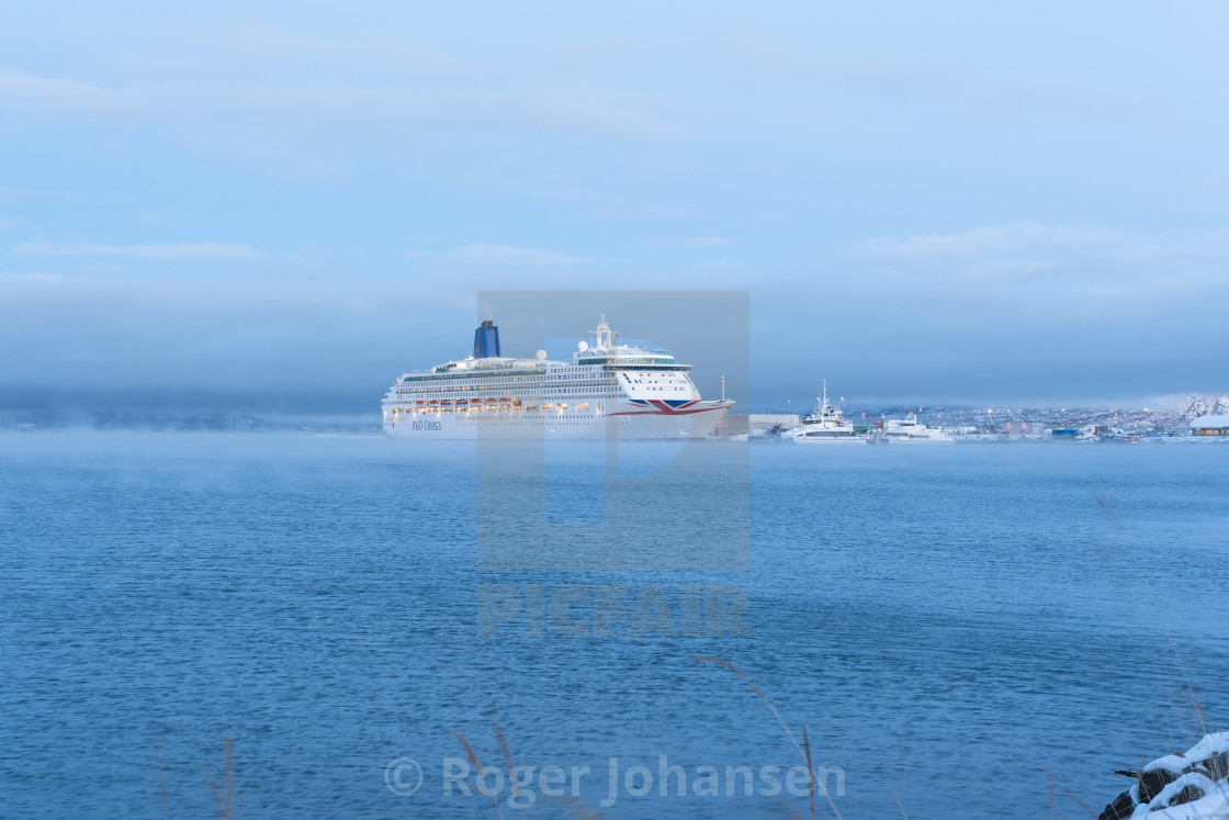 """Oriana cruiseship in Alta harbor"" stock image"
