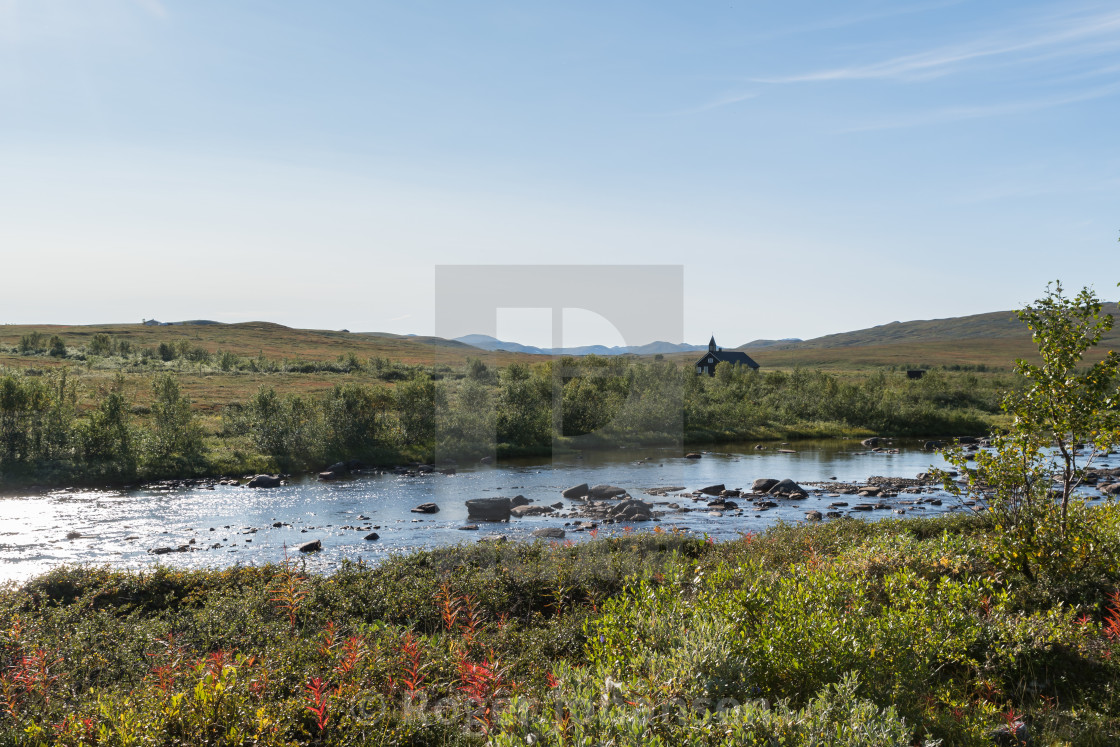"""""""Aisaroaivi chapel with river in front"""" stock image"""