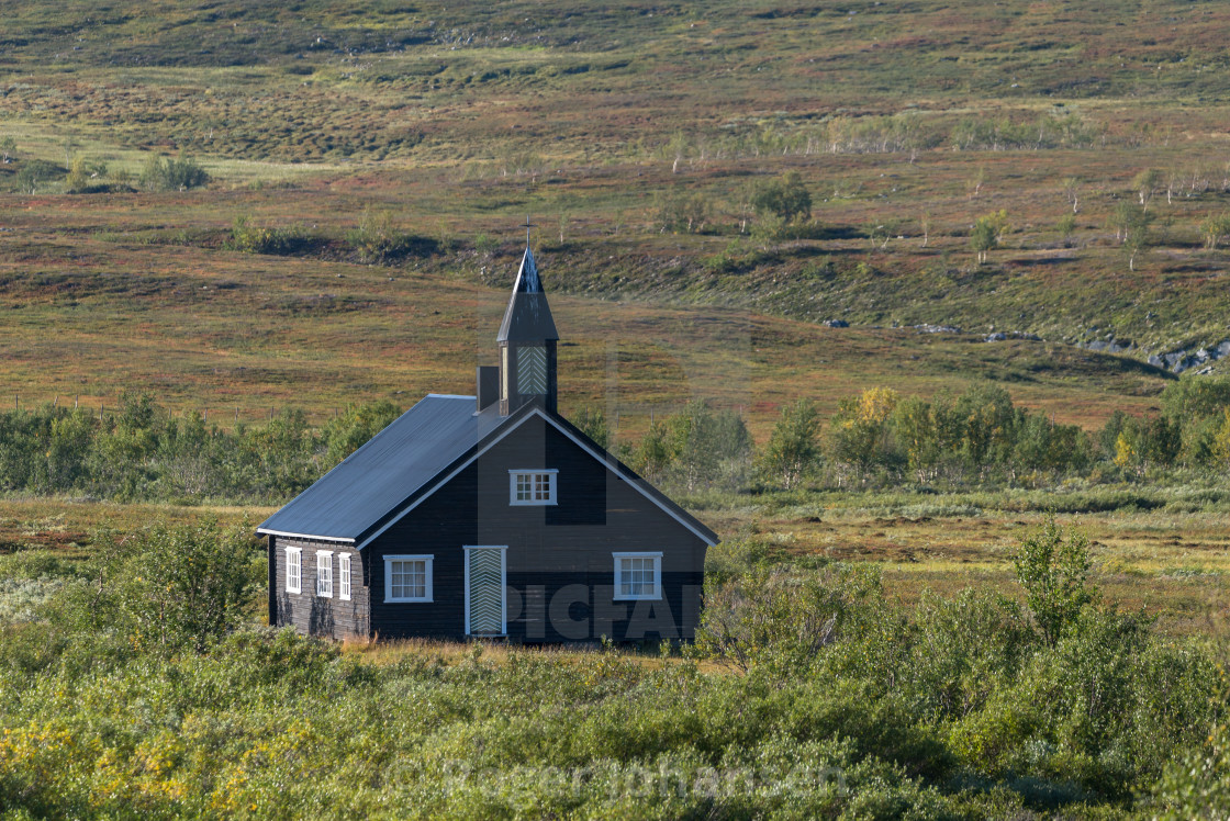 """Aisaroaivi chapel in distance"" stock image"