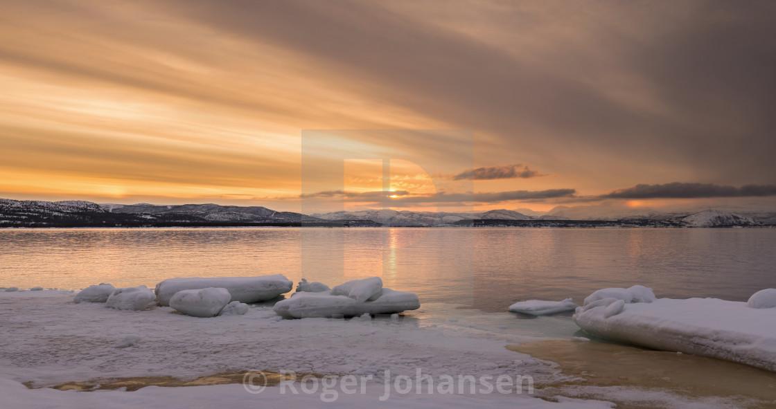 """Ice blocks at seashore"" stock image"