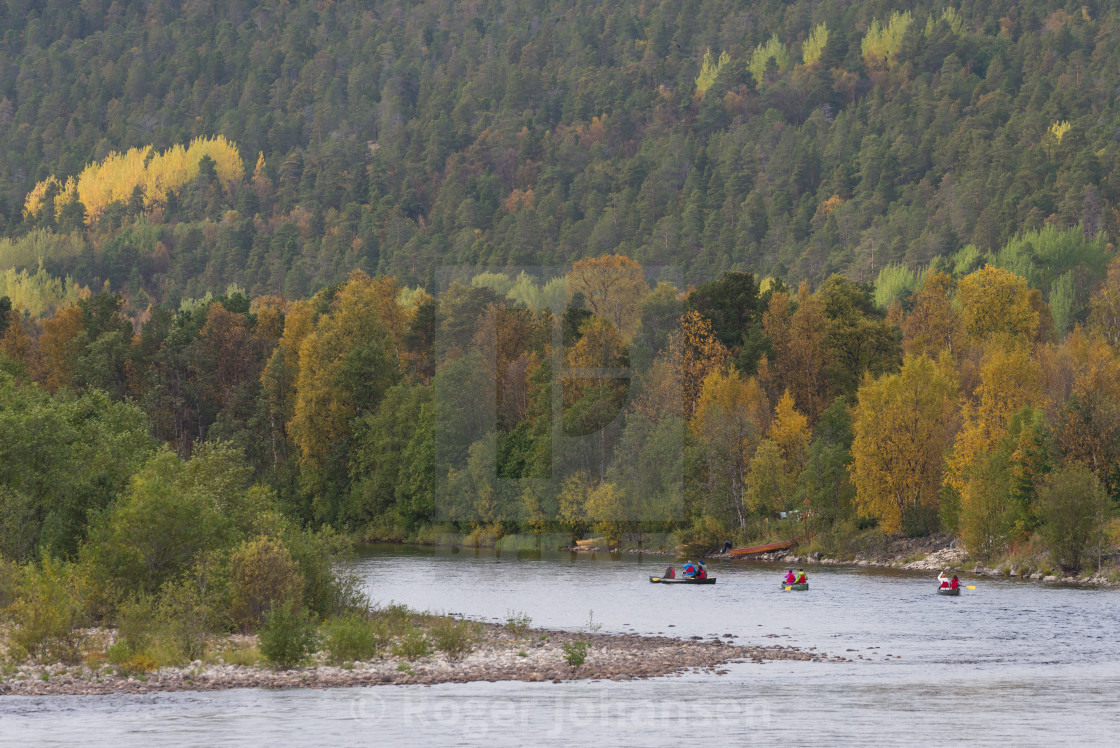 """Canoeing on Alta river"" stock image"