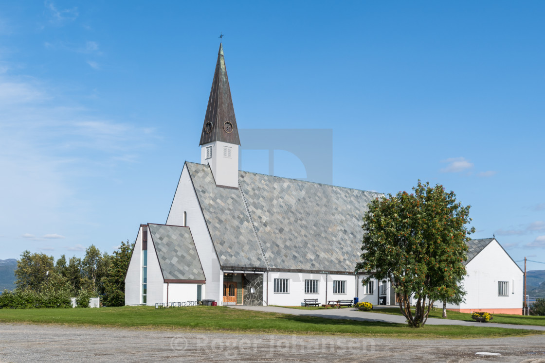 """Elvebakken church mid summer"" stock image"