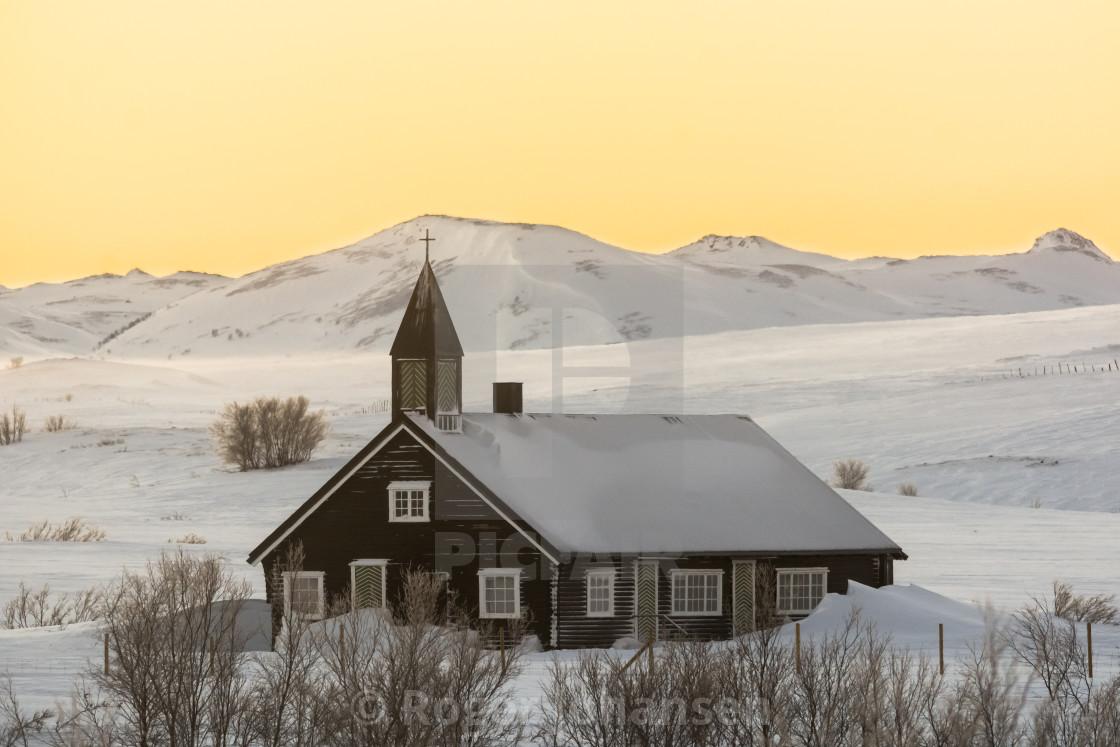 """""""Áisaroaivi chapel sunset"""" stock image"""