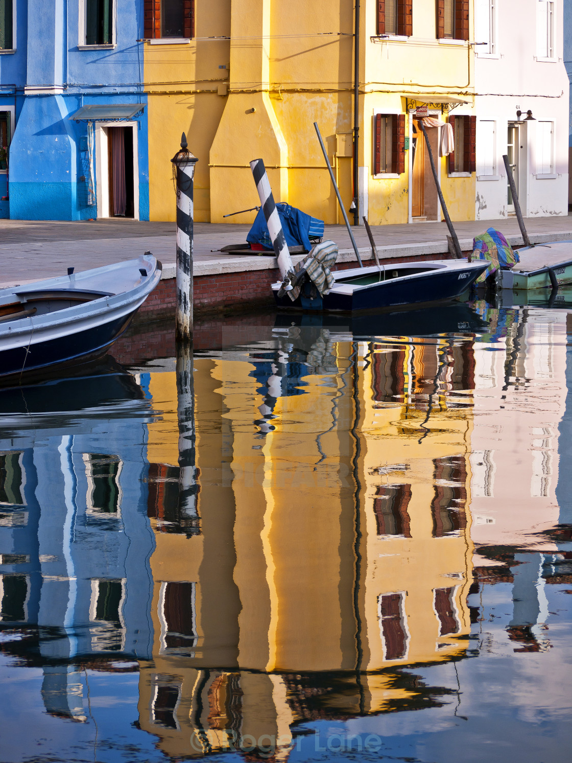 """Canal Reflections, Burano"" stock image"