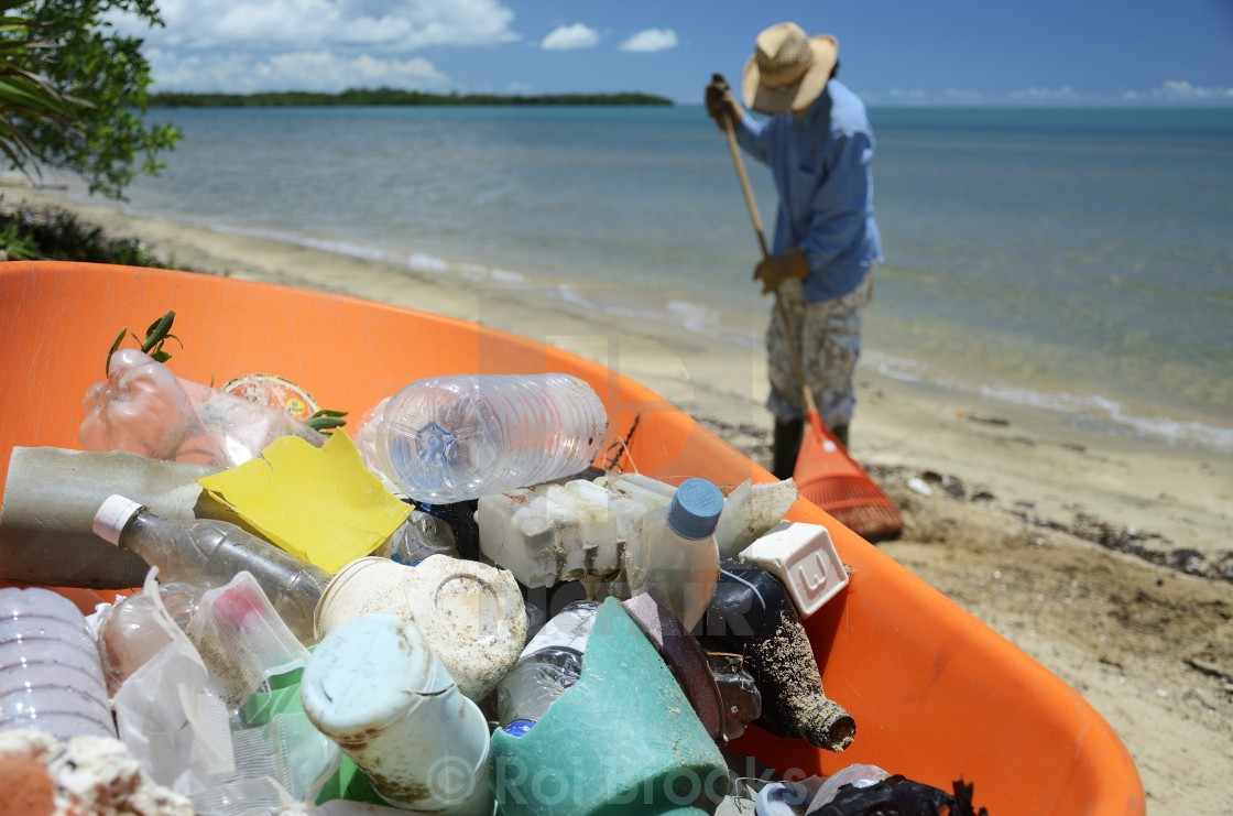 """Garbage from the beach"" stock image"