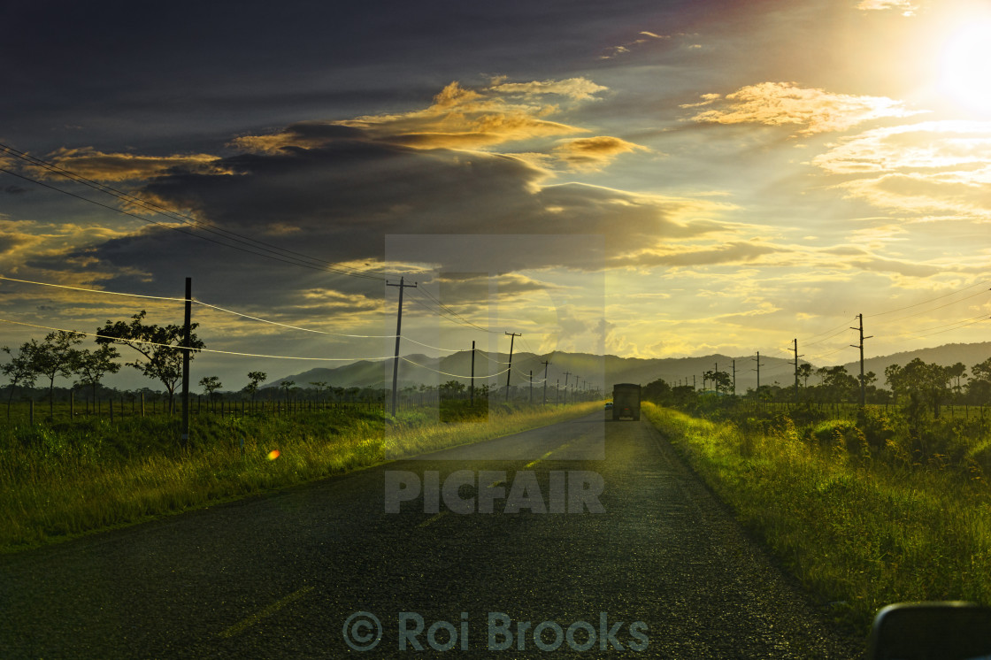 """Sundown on the highway"" stock image"