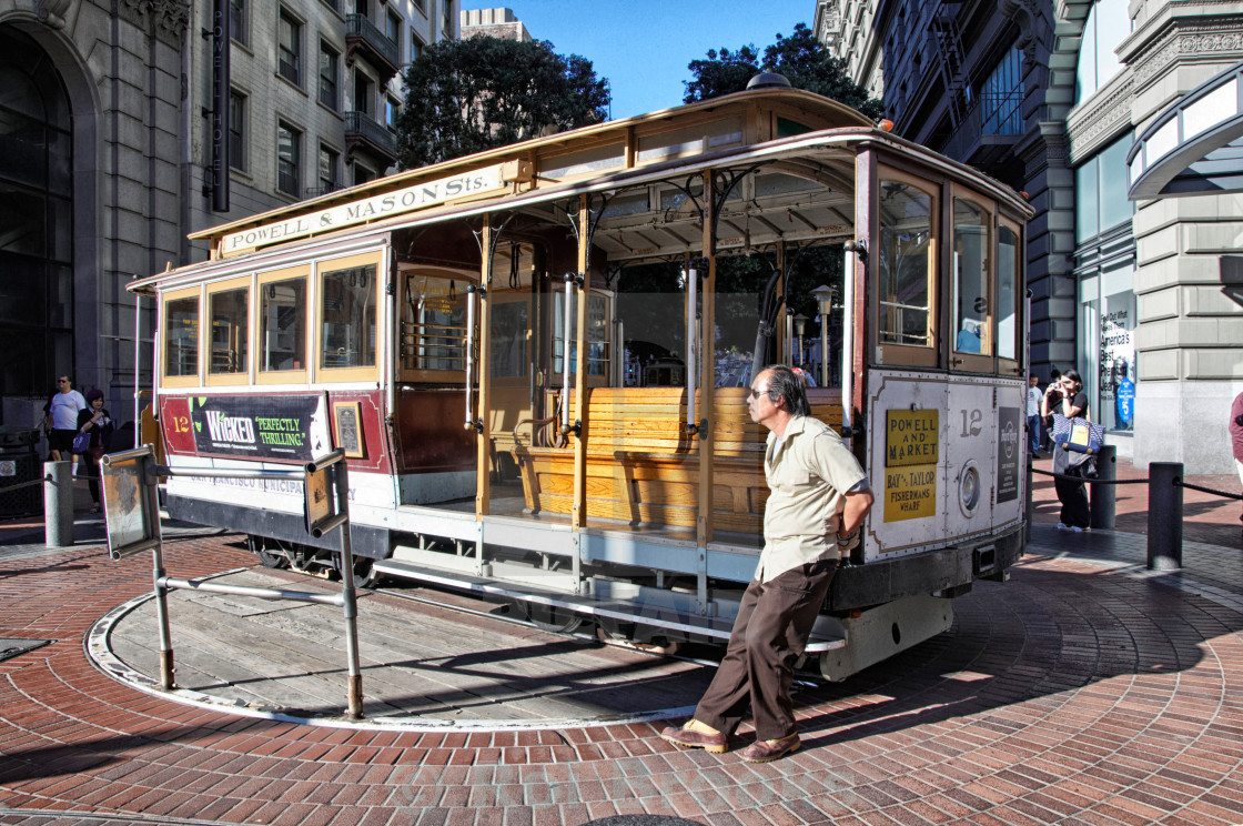 """Cable car at the turnaround"" stock image"