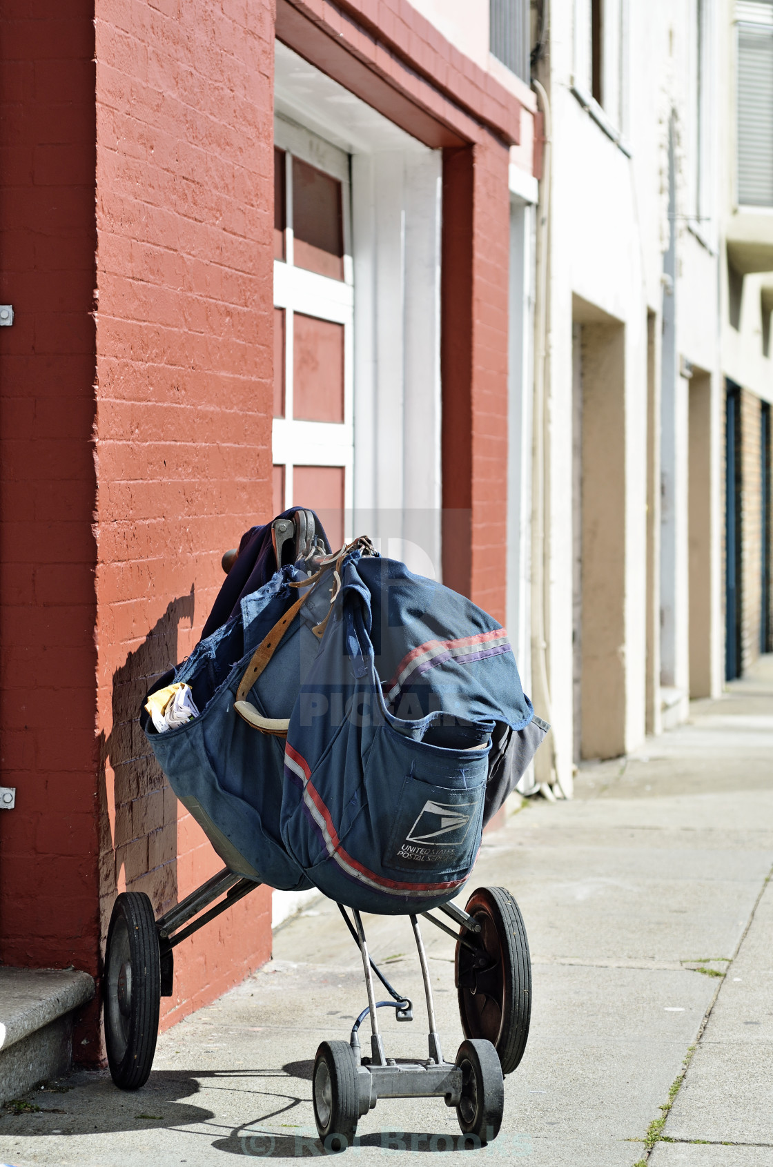 """Postal sack and trolley"" stock image"