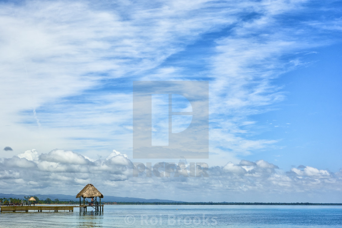"""View across a bay in Belize"" stock image"