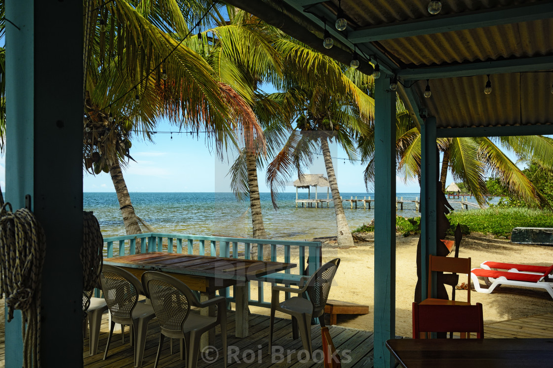 """Beach bar in Belize"" stock image"