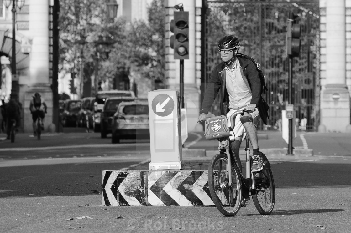"""Cycle rider on the Mall"" stock image"