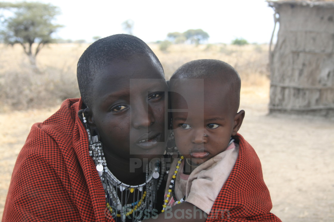 """""""Masai father and child"""" stock image"""