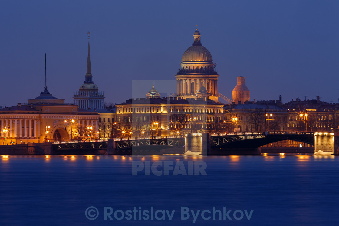 """Sankt Petersburg most important landmarks by Night"" stock image"