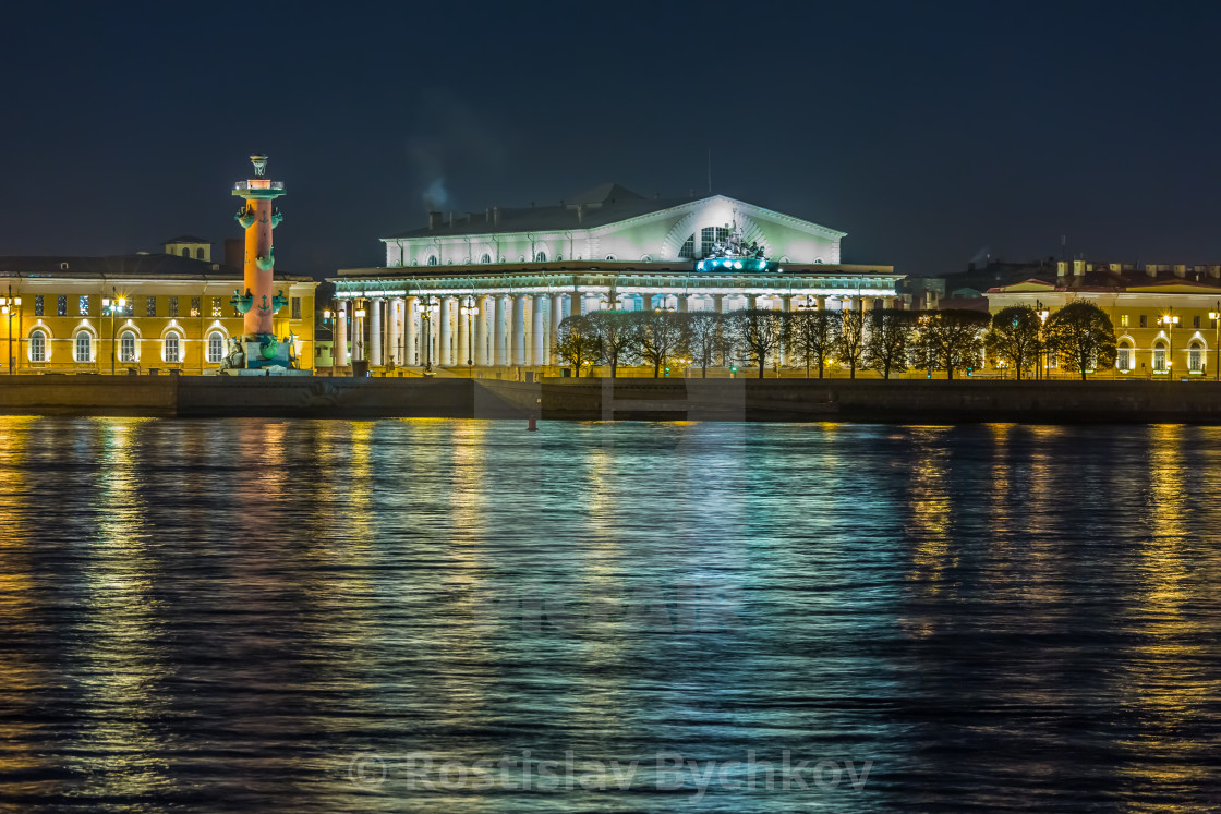 """Spit of Vasilyevsky Island night view"" stock image"