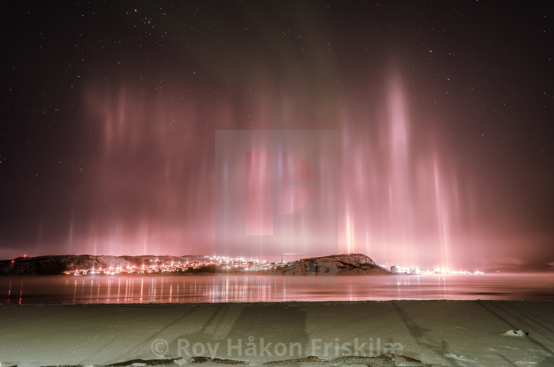 """Kirkenes by night"" stock image"
