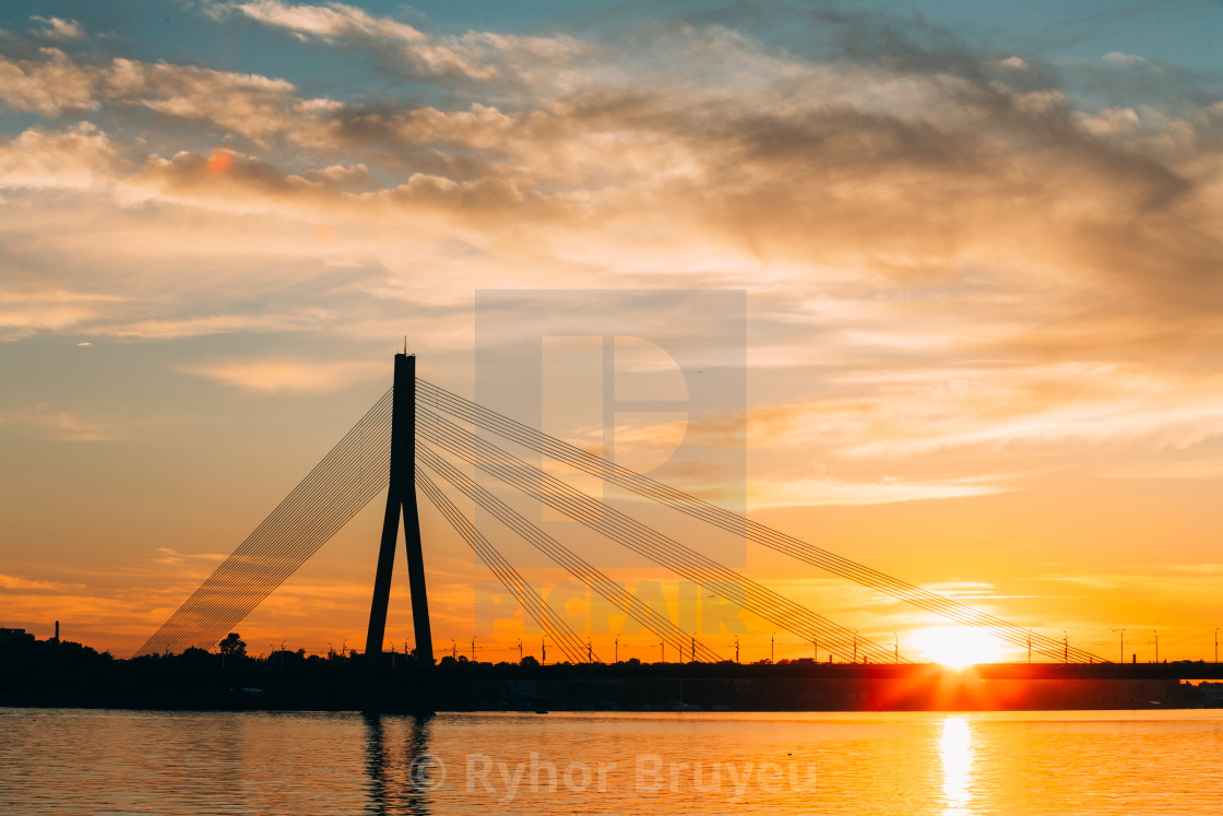 """Riga, Latvia. Vansu Cable-Stayed Bridge Over The Daugava River, Western Dvina..."" stock image"