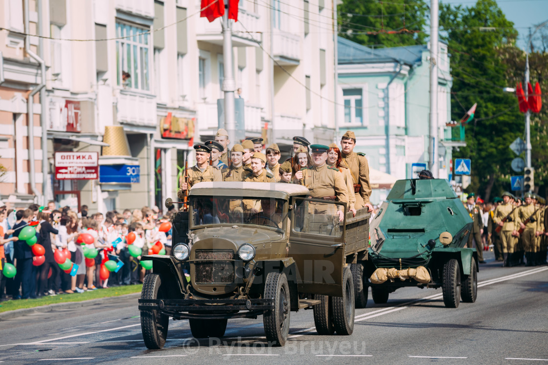 Truck ZIS-5V Foreground Of Parade Soviet WW2 Time Cars  Celebrating
