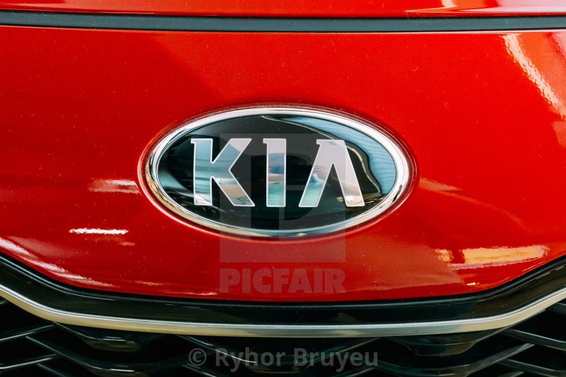 Vilnius Lithuania Close Oval Logo Of Kia Motors At Red Hood Of New