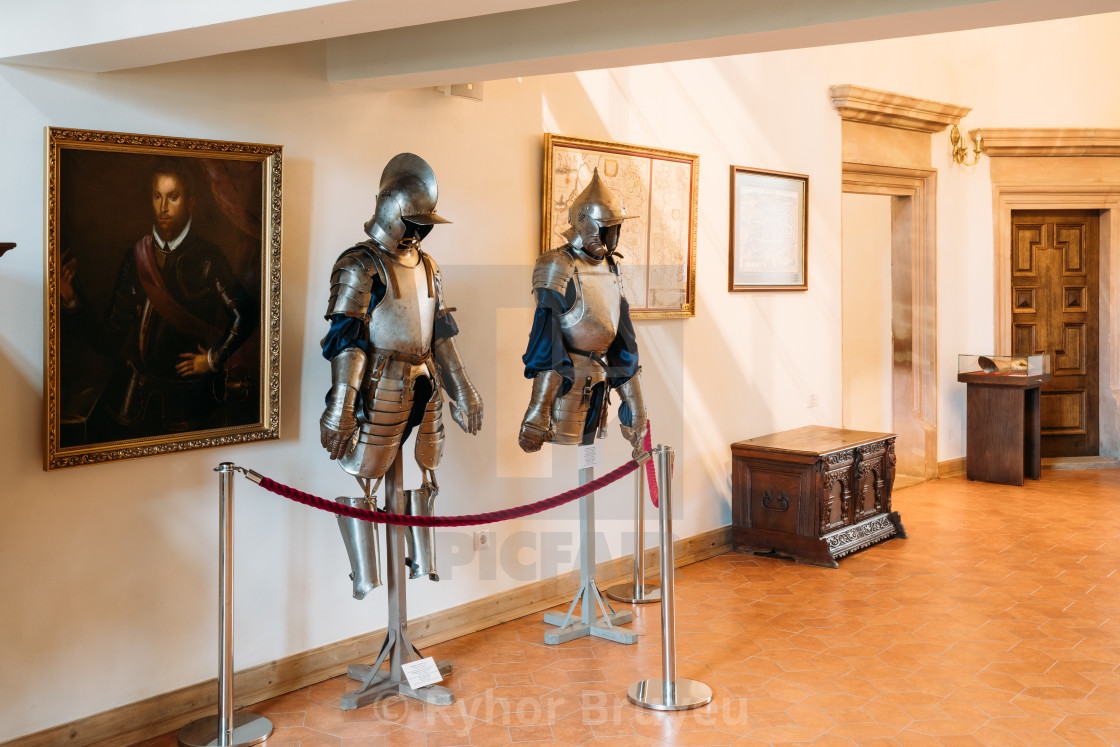 """Mir, Belarus. Armor of the knights warriors In Armored Room In Mir Complex...."" stock image"