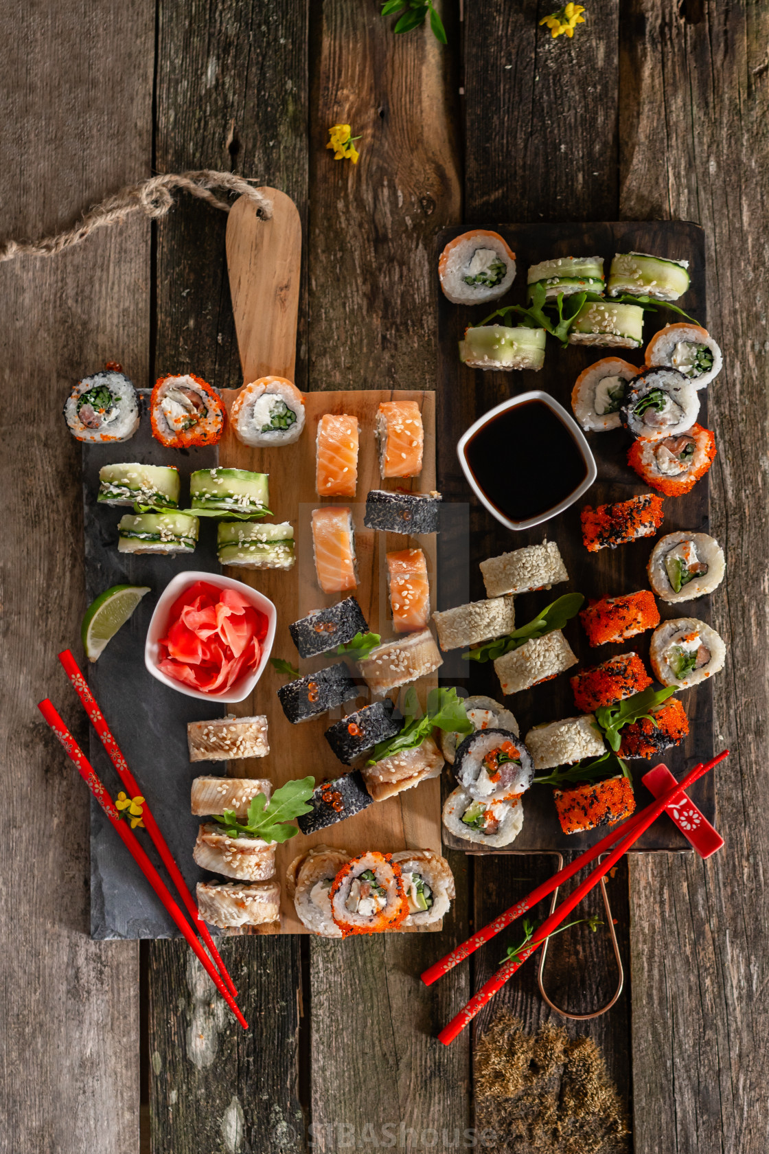 Sushi Set Food Photo Rolls Served On Brown Wooden And Slate Plate Close Up And Top View Of Sushi License Download Or Print For 49 60 Photos Picfair