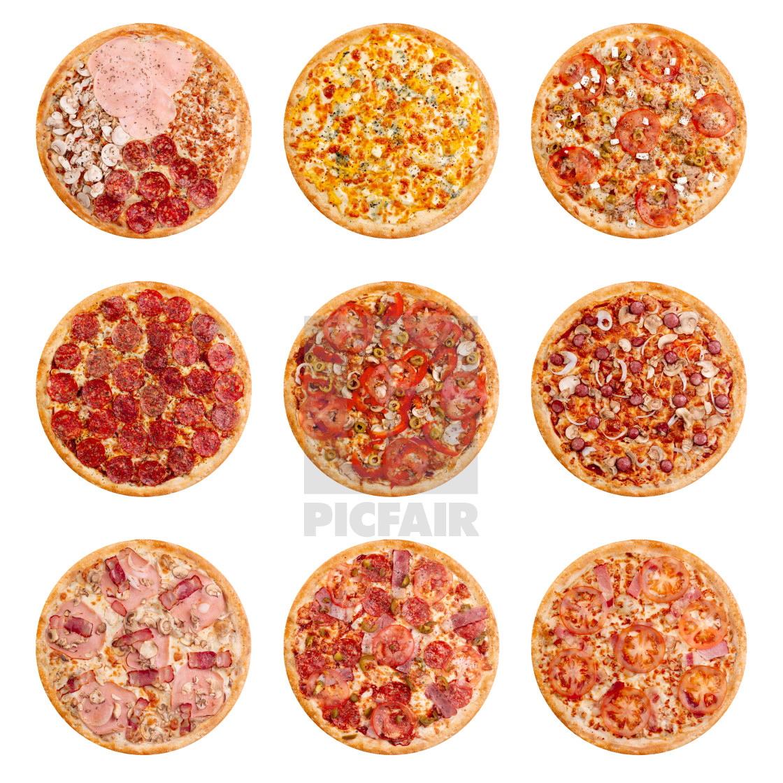 """Set of 9 pizza isolated on white background. Image of fast food for menu..."" stock image"