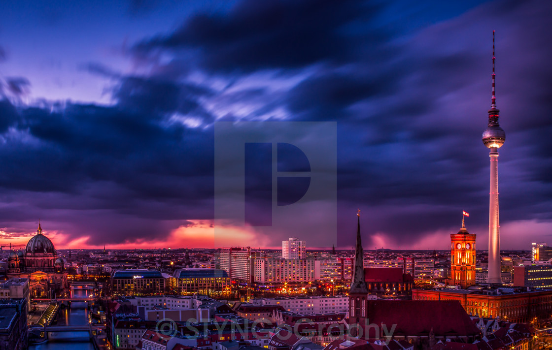 """Berlin at night"" stock image"