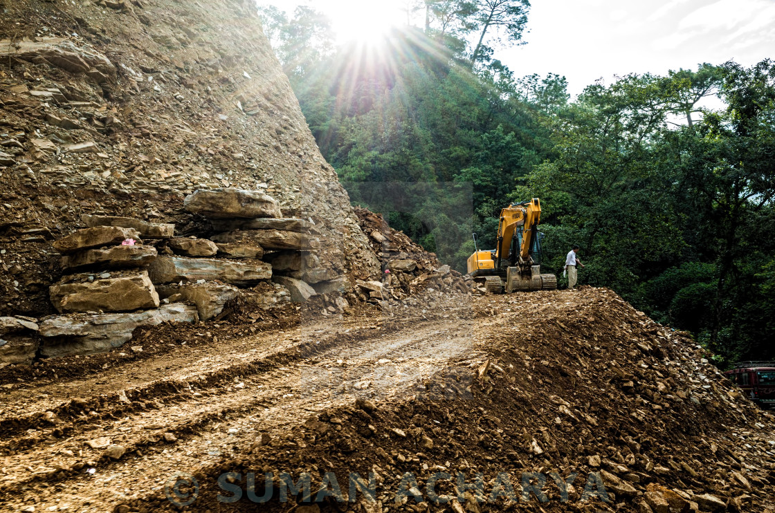 """""""Hill Road Construction"""" stock image"""
