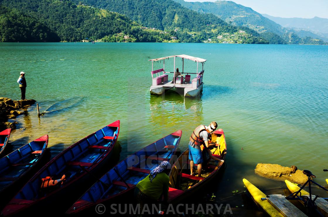 """""""Boat Ride, Phewa Lake"""" stock image"""