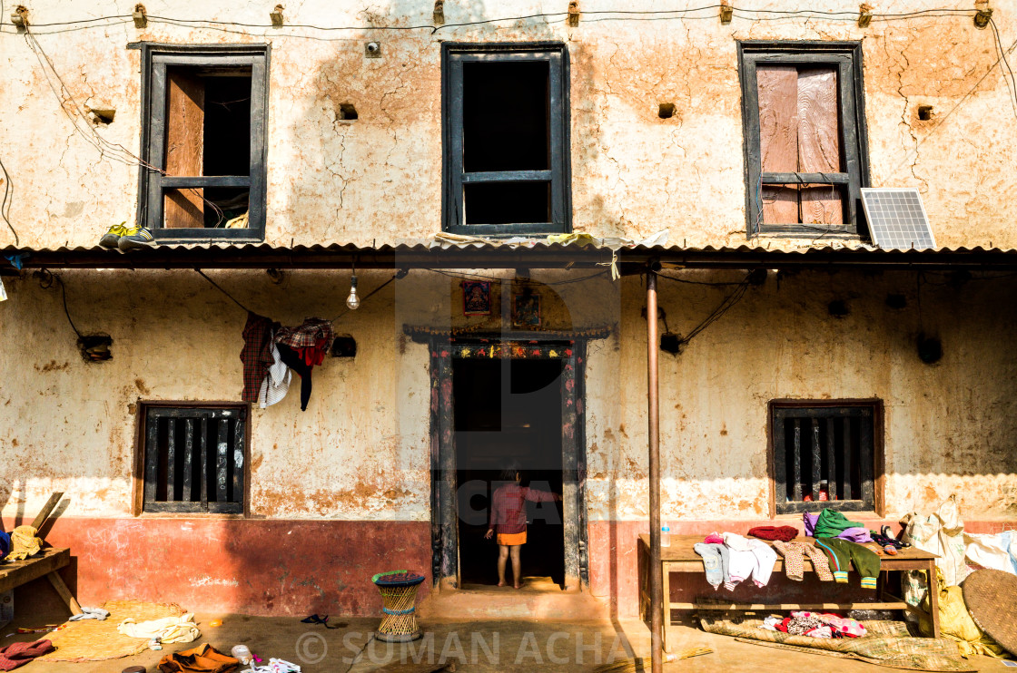 """""""Face of A Nepalese Rural Hill House"""" stock image"""