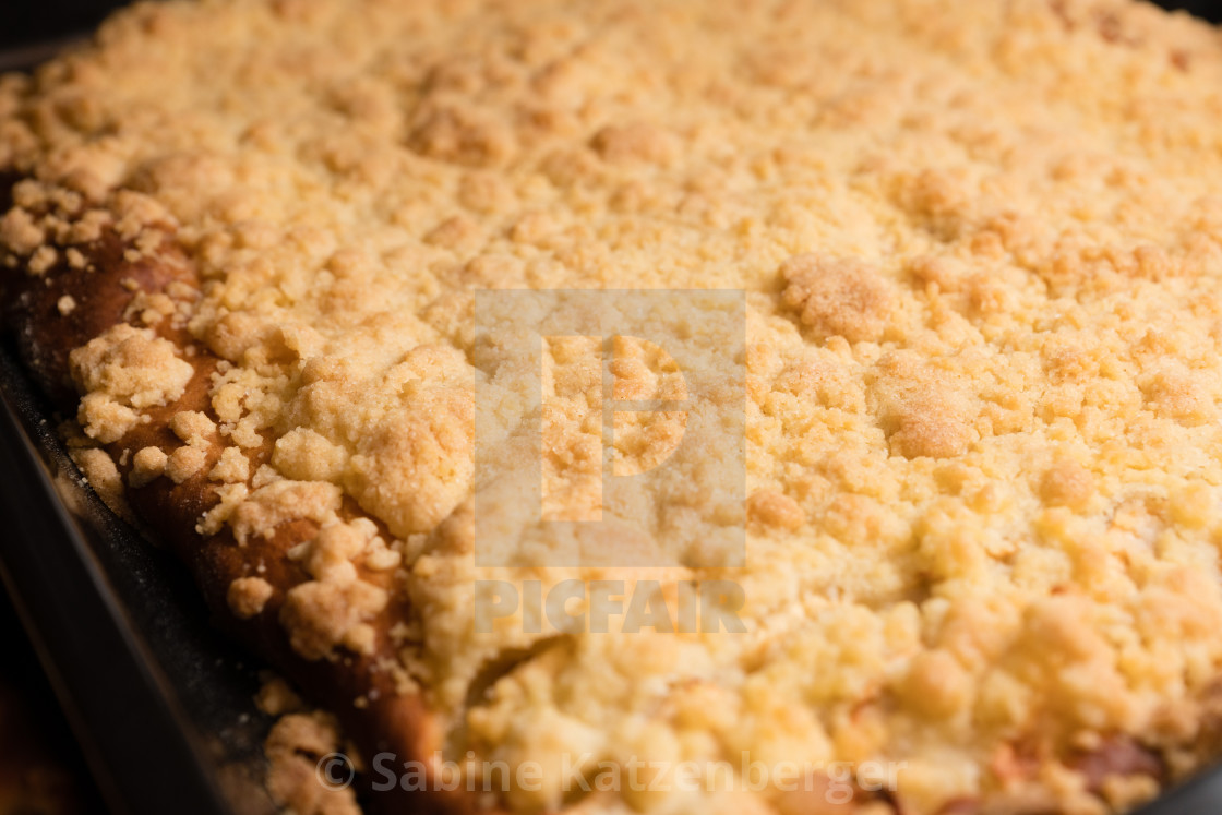 """Tray cake with crumbles"" stock image"