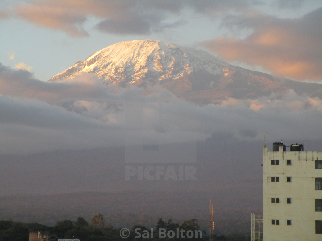 """Mount Kilimanjaro at Sunset, Tanzania"" stock image"