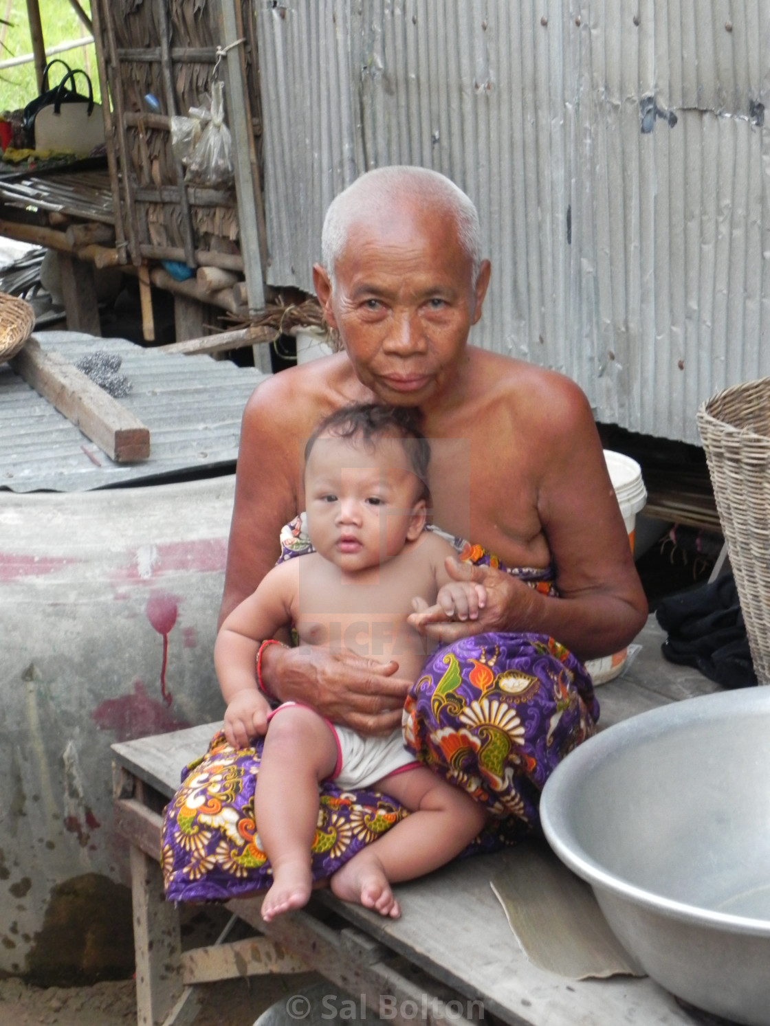 """Cambodian Grandmother and Child"" stock image"