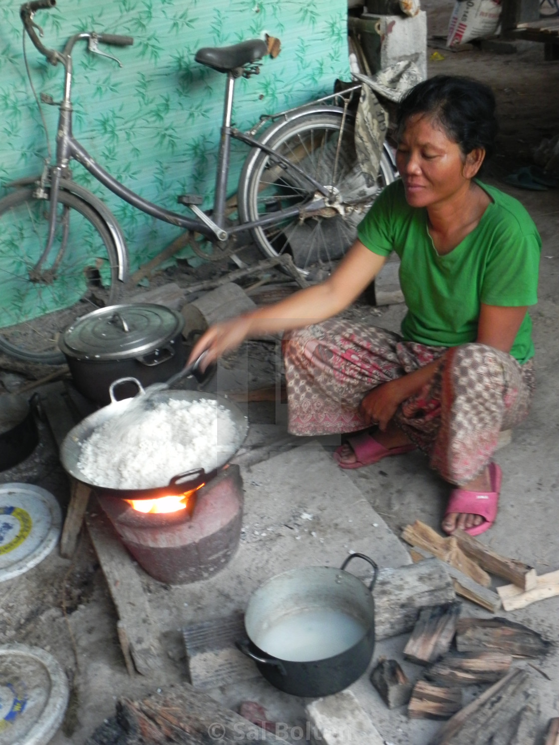 """Rice Cooking, Cambodia"" stock image"