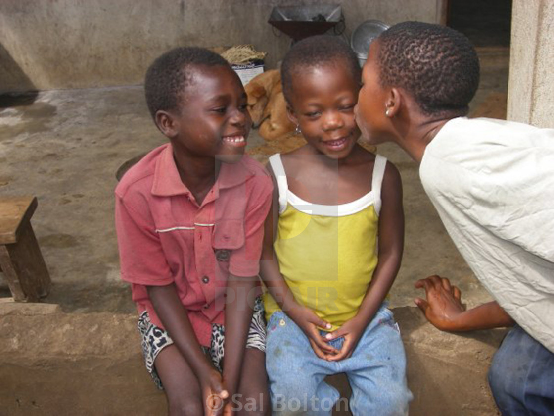 """Sibling Love, Ghana, West Africa"" stock image"