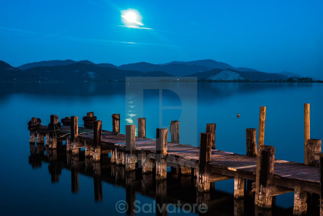"""the pier at the lake Massaciuccoli"" stock image"