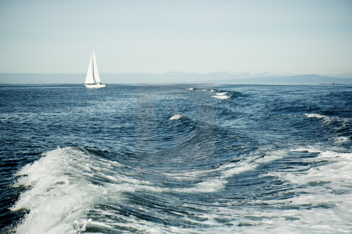 """Sailboat and wake"" stock image"