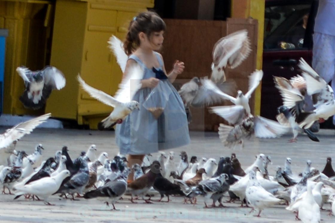 """Pigeon girl"" stock image"