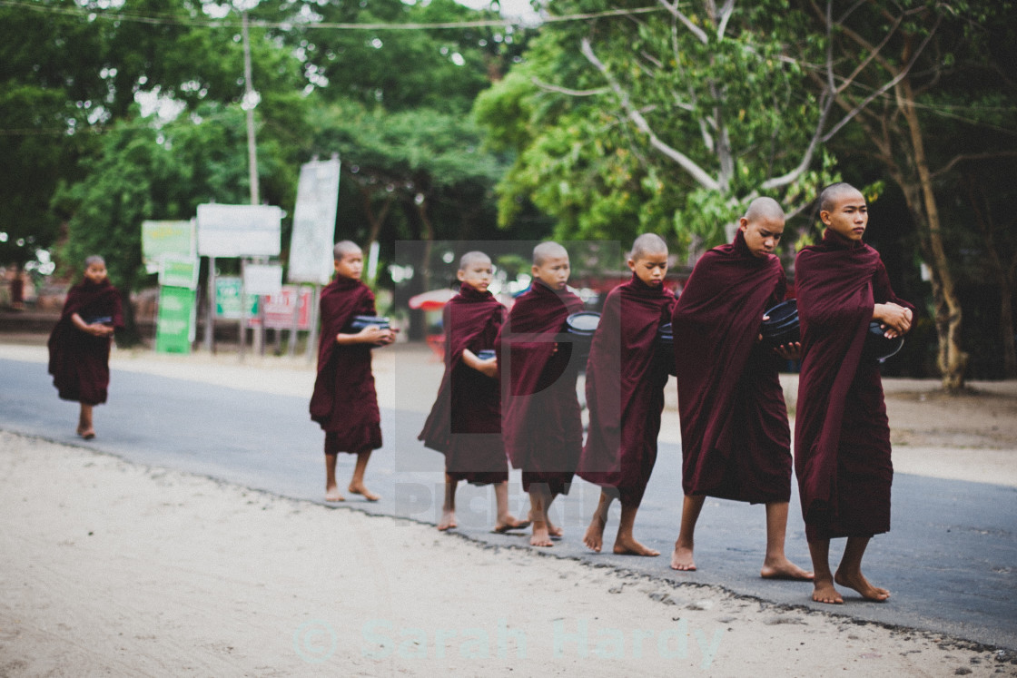 """Monks in a Row"" stock image"