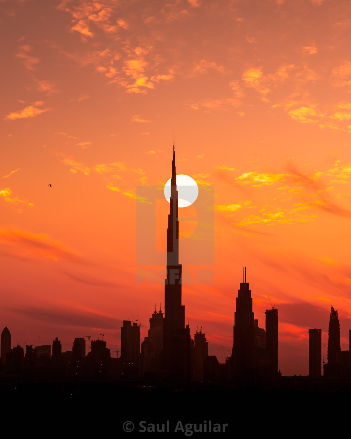 """Sunset over Dubai"" stock image"
