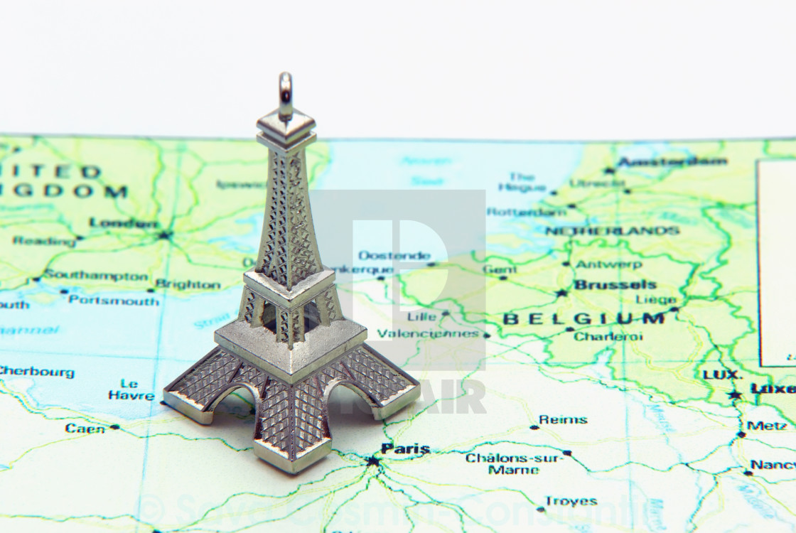 Map Of France Eiffel Tower.Statue Of Eiffel Tower On Map License Download Or Print For