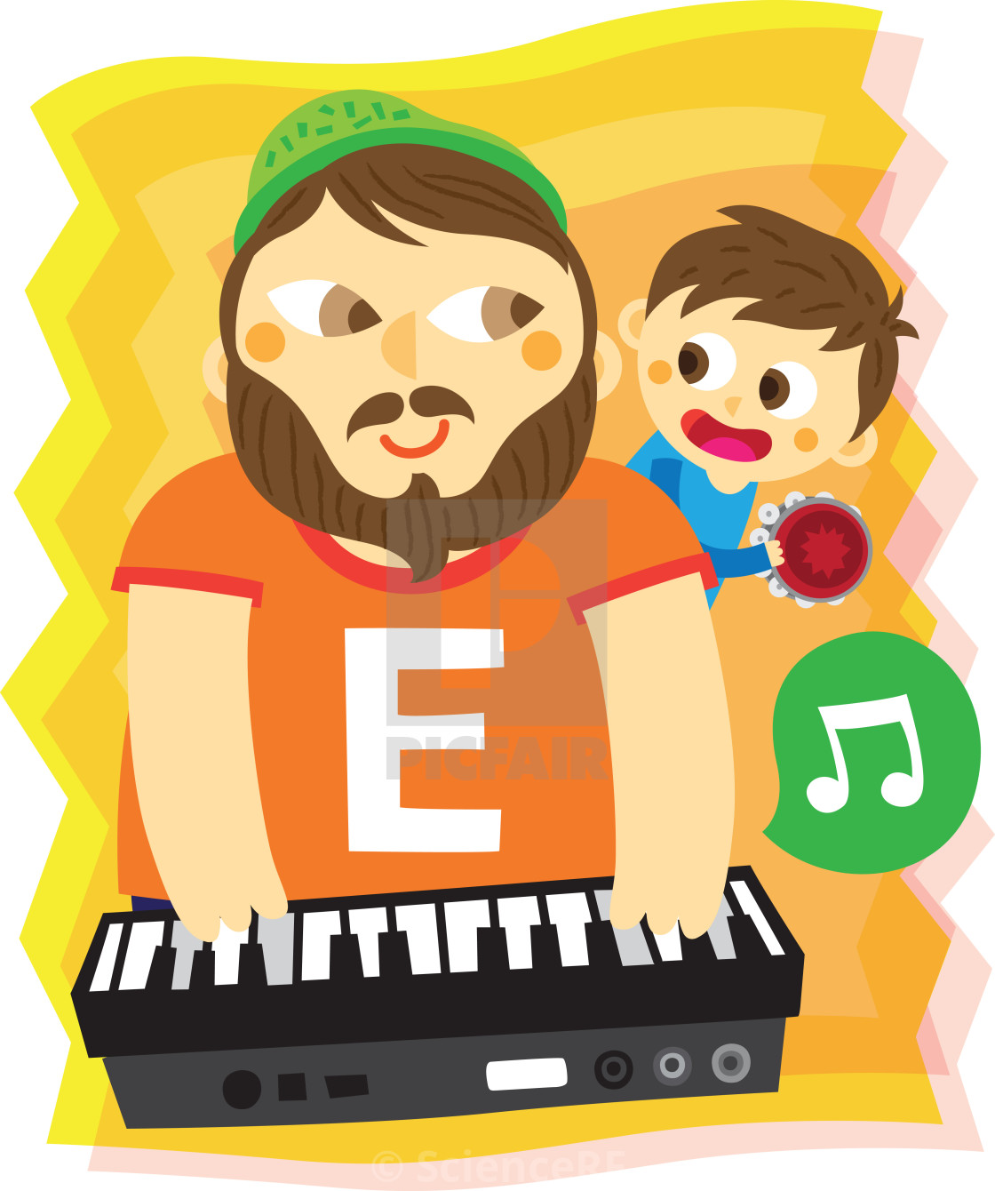 Illustration of father and son playing musical instrument - License
