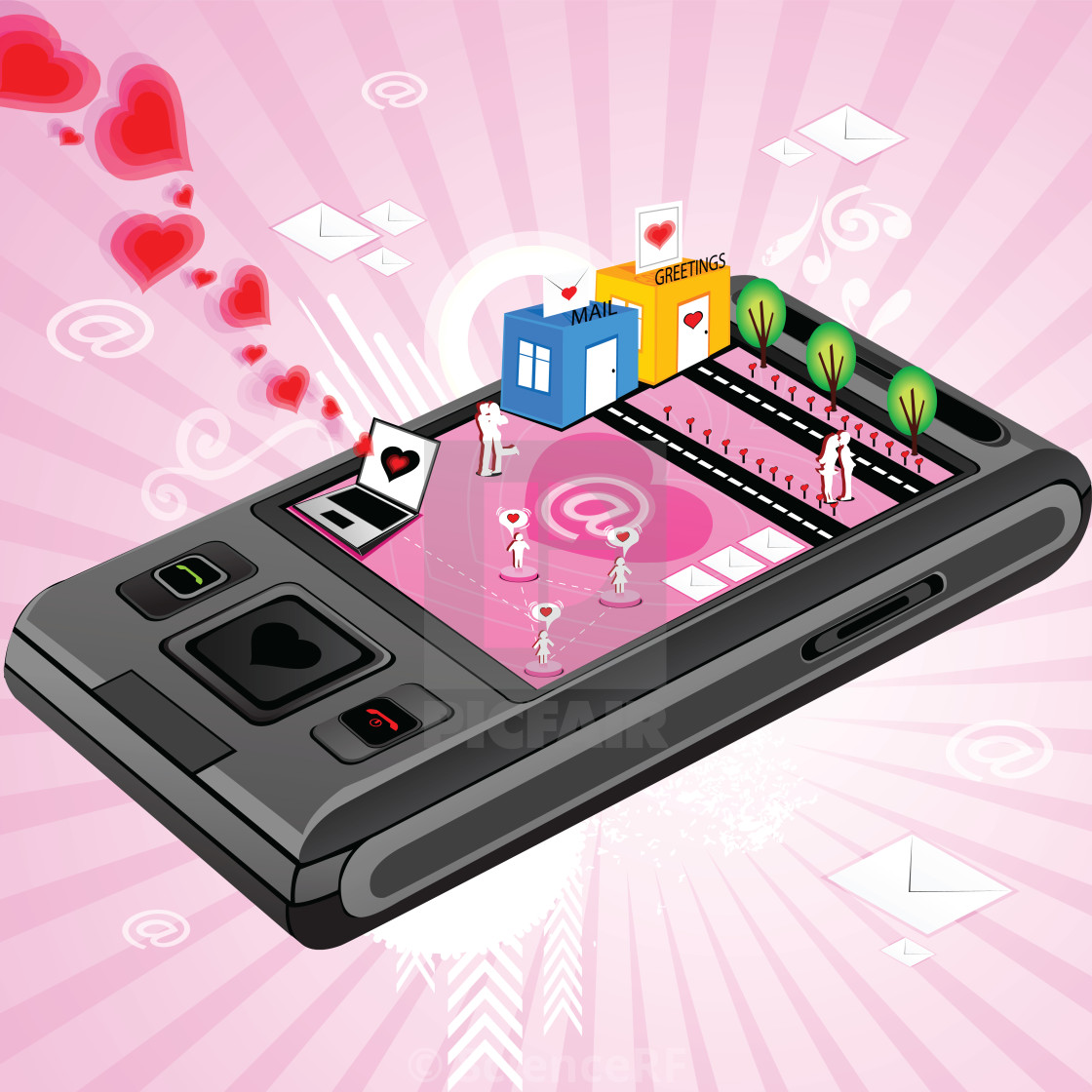 Messages Transferred Through Mobile Phone Illustration License