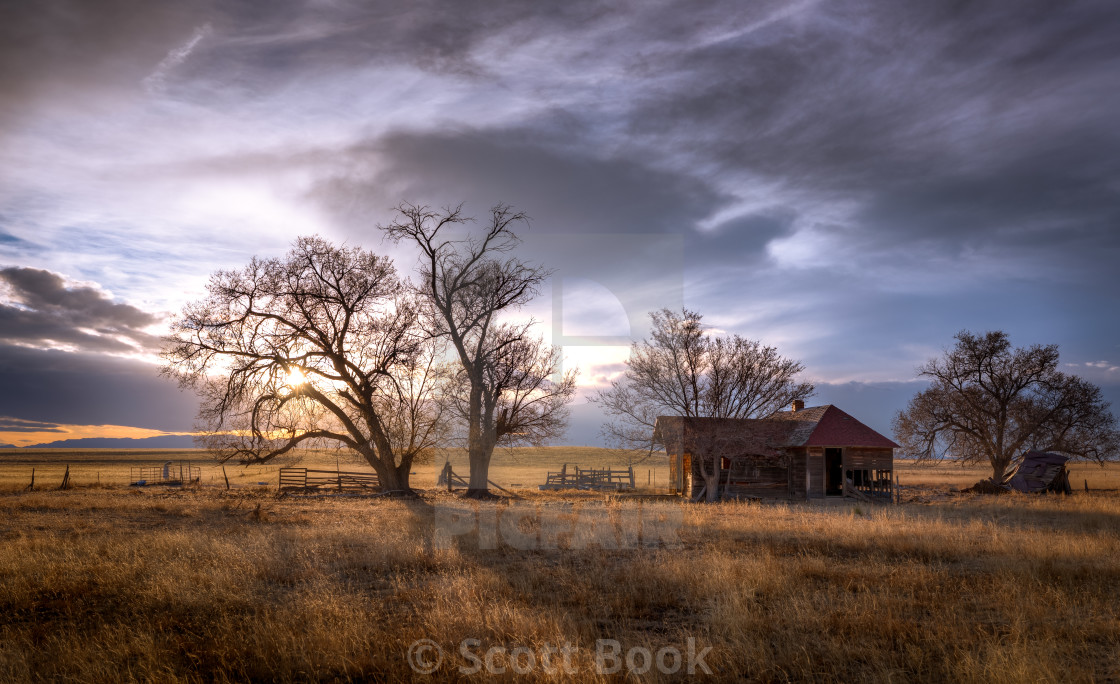 """Panorama Landscape of Old Farmhouse on the Prairie"" stock image"