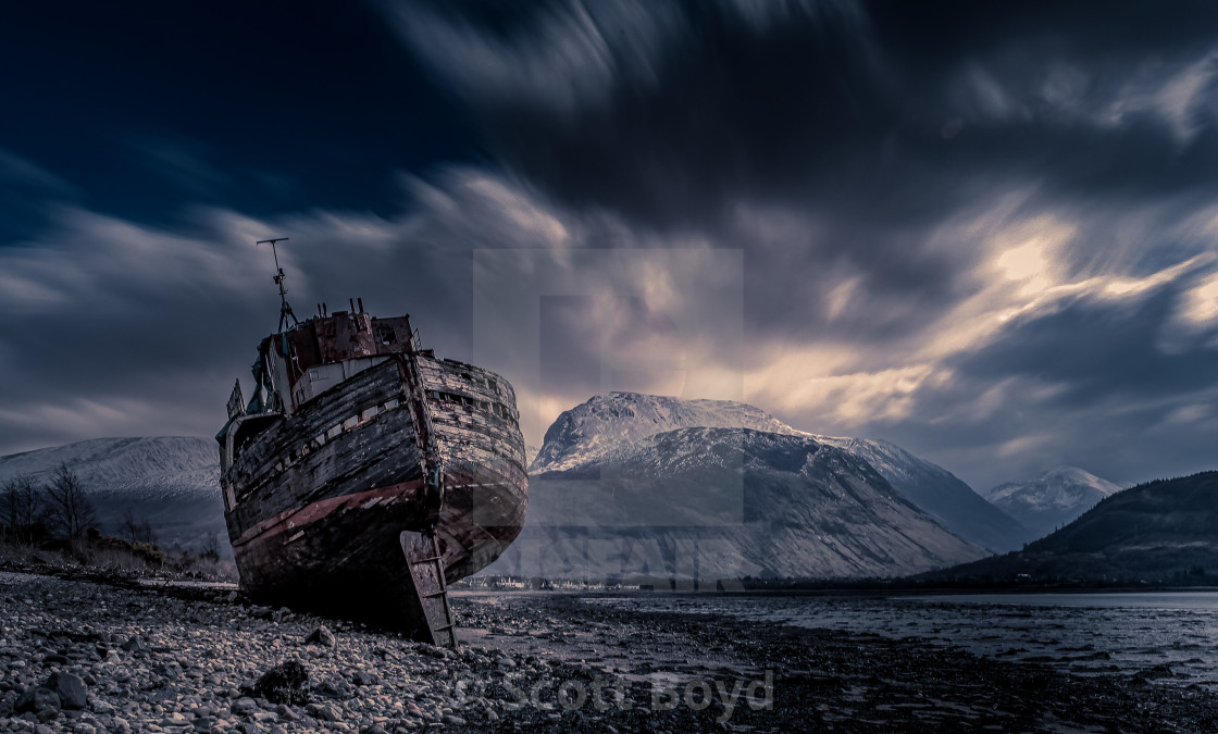 """The Corpach wreck at Fort William"" stock image"