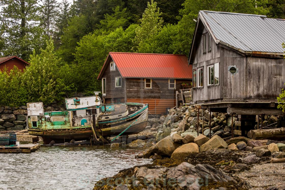 """""""Rustic Alaskan Scene"""" stock image"""