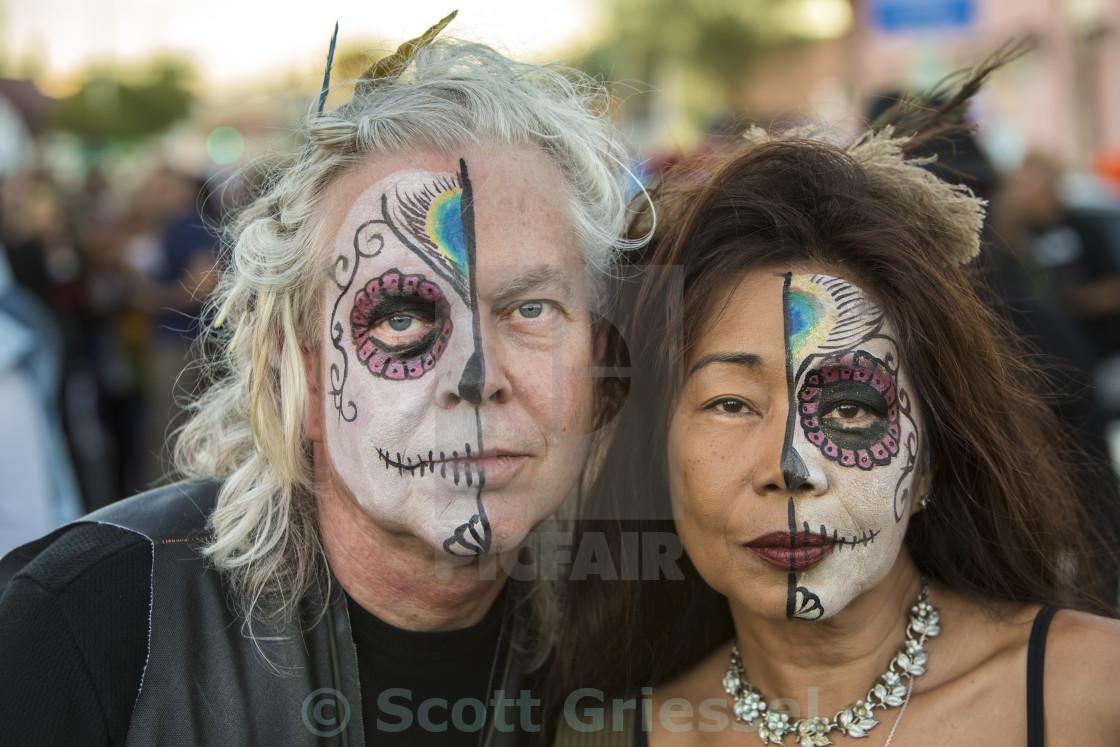 """""""Couple in Dia De Los Muertos Makeup"""" stock image"""