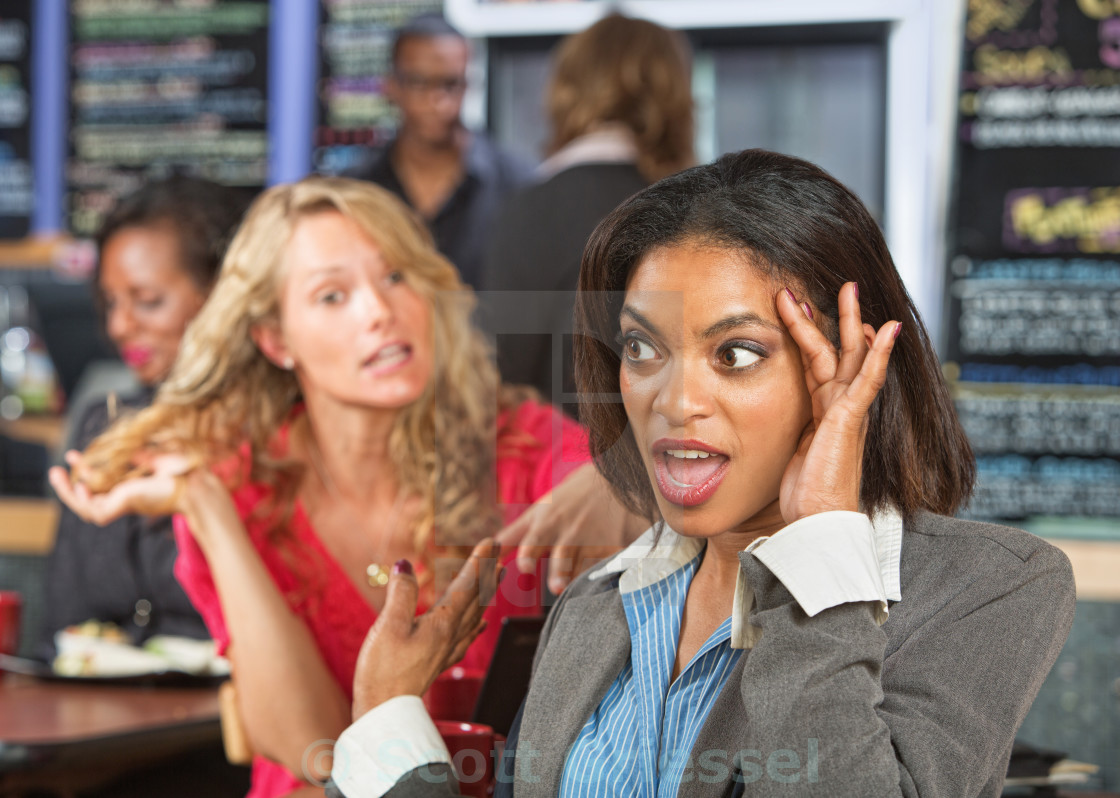 """""""Irritated Woman in Cafe"""" stock image"""
