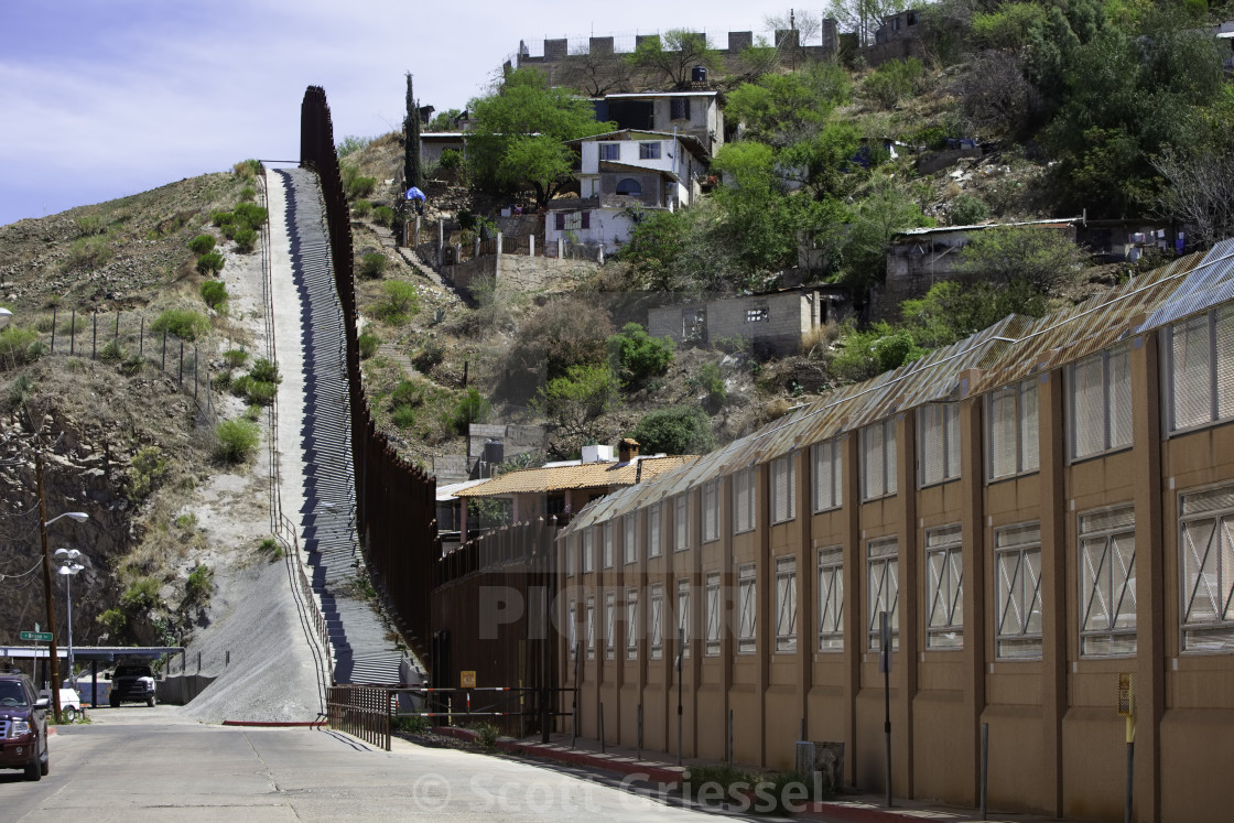 """United States Border Wall with Mexico in Nogales Arizona"" stock image"