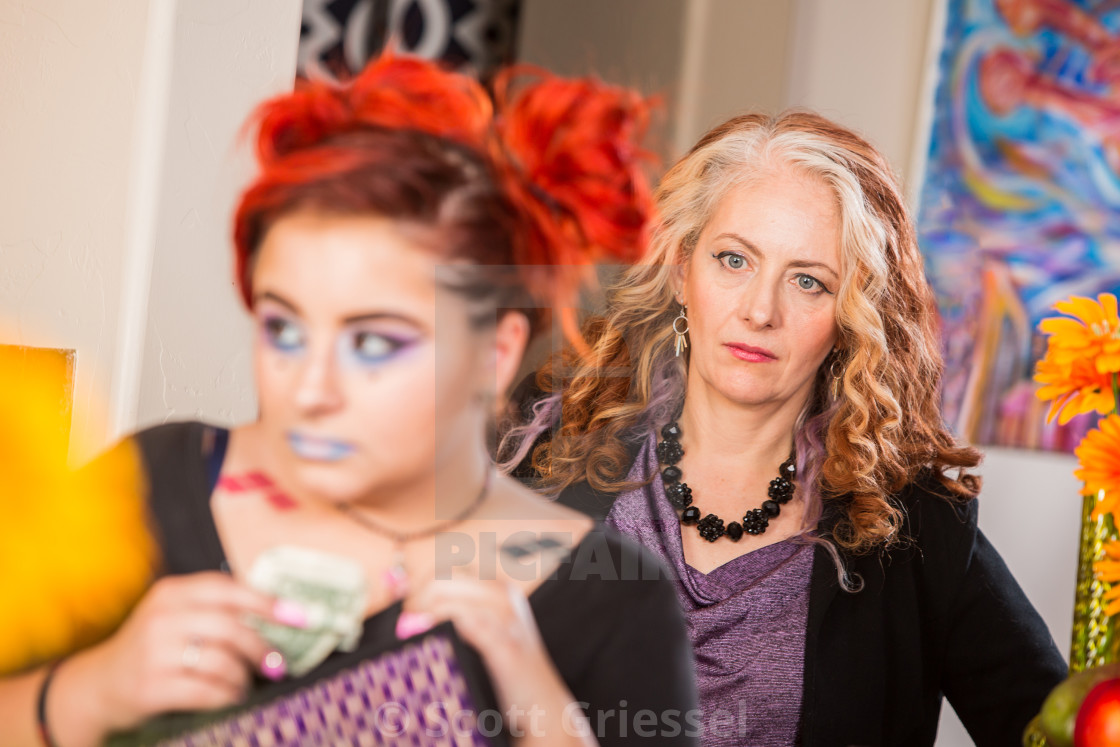 """""""Shocked Mother and Thieving Daughter"""" stock image"""