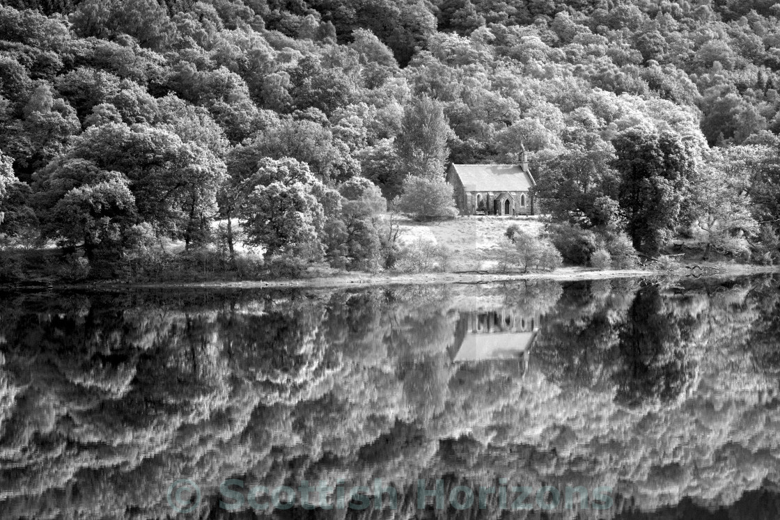 """Loch Achray and Loch Achray Church"" stock image"